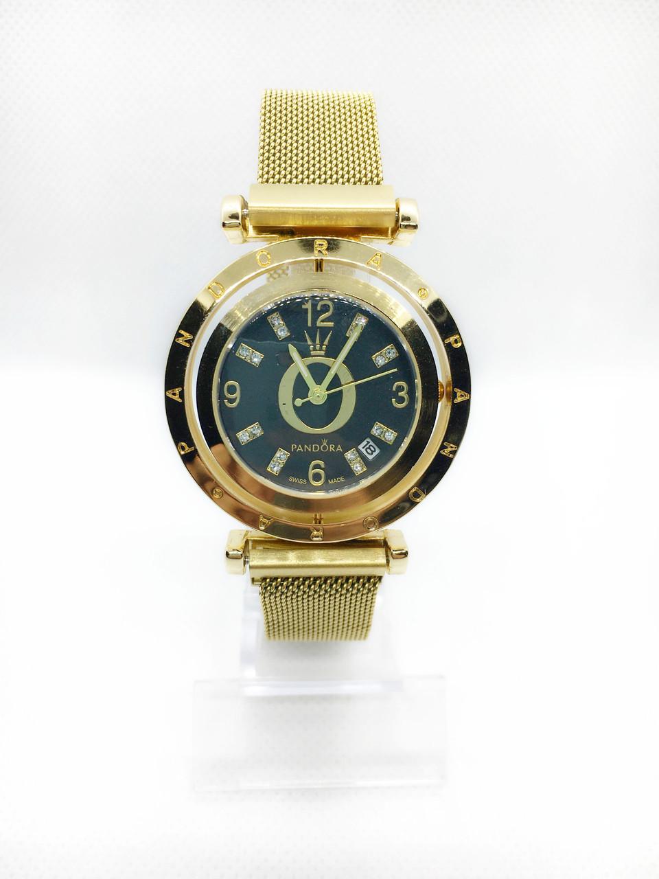 Женские наручные часы Pandora (Пандора), золото с черным циферблатом