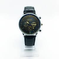 Мужские наручные часы Rolex (Ролекс), серебро с черным циферблатом