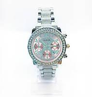 Женские наручные часы Guess (Гесс), серебро с розовым циферблатом