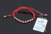 Браслет красная нить с серебряными шариками Aurora универсальный размер 75121