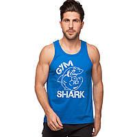 Майка борцовка спортивная мужская GYM SHARK CO-5887-BL размер S-XL-42-54 синий