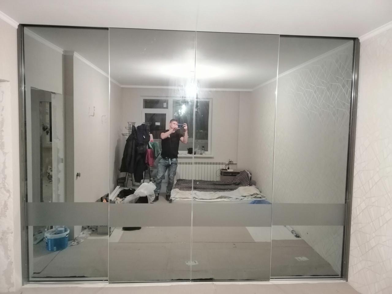 Шкаф купе с системой zola графит + зеркало графит