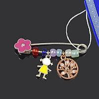 Серебряная брошь Цветочек и девочка Irida-V 620014