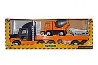 """Super Tech Truck"" с бетономешалкой, пластиковая машинка   Wader"