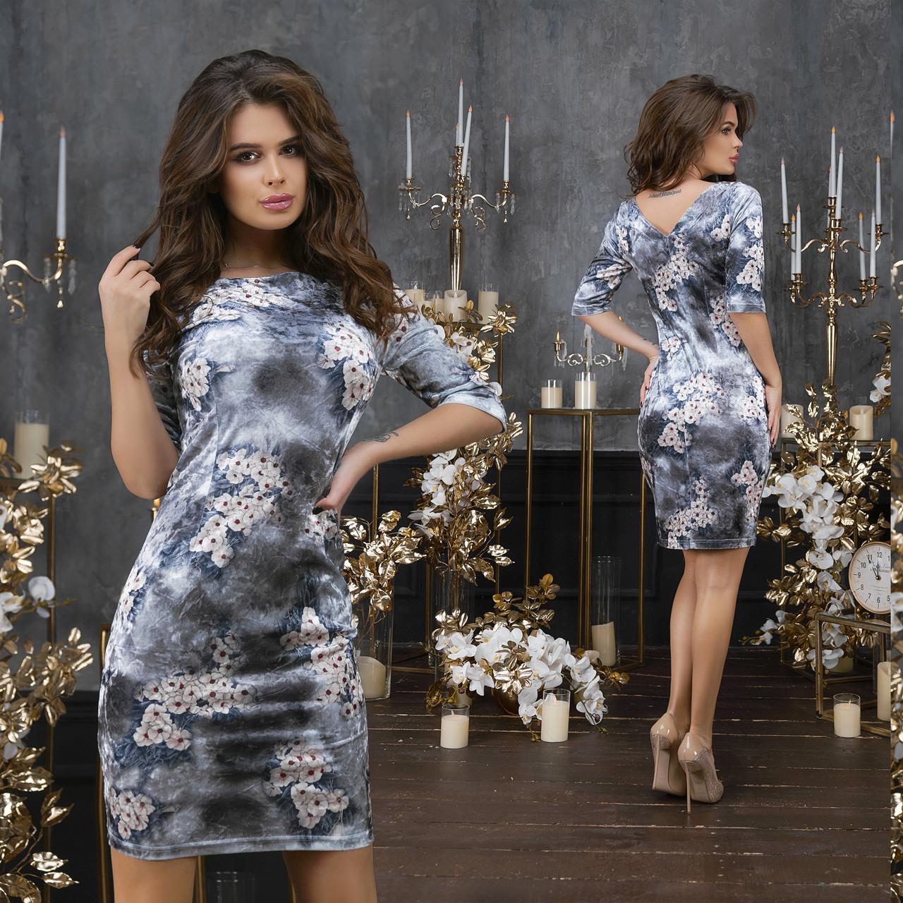 """Элегантное нарядное короткое платье 2125 """"Велюр Цветы Мини"""" в расцветках"""