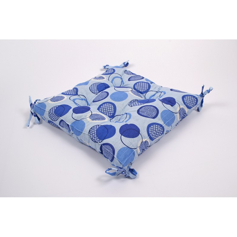 Подушка на стул Lotus 45*45 - Erin с завязками голубой оптом