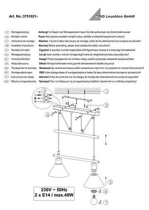Подвесной светильник Trio 3751021-07 Stamina, фото 2
