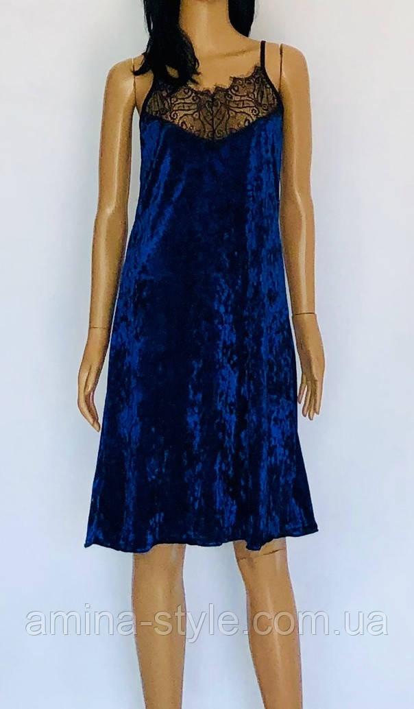 Женская ночная рубашка велюровая с кружевом, бархат 42-44(S)