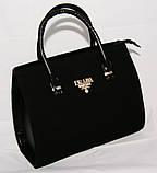 Чёрная каркасная сумка Prada (Прада), замш+кожзам, фото 2