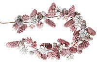 """Ветка-гирлянда """"Розовая нежность"""" из шишек и ягод, 100см, цвет - розовый с белым, набор 4 шт"""