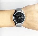 Женские наручные часы в стиле Саlvin Кlein (Кельвин Кляйн), серебро с черным циферблатом, фото 4