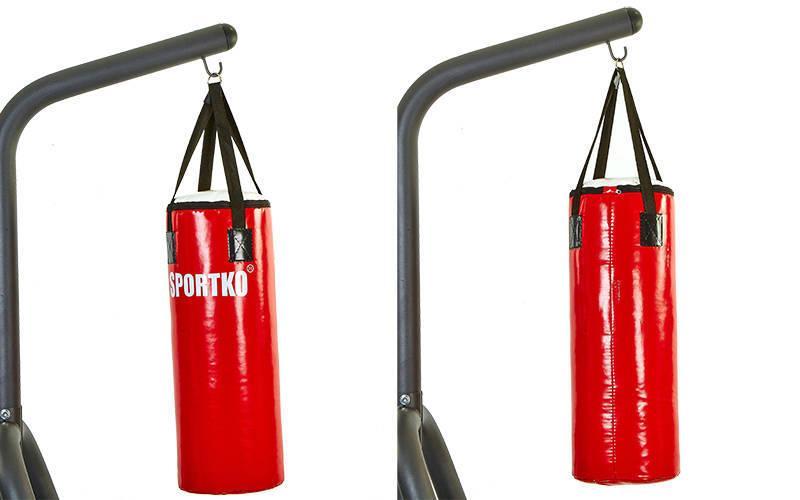 Мішок боксерський Циліндр з кільцем і ланцюгом ПВХ h-110см ЕЛІТ SPORTKO MP-22(рез.крош,тырс,d-35см,40кг, червоний-білий)