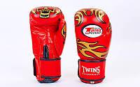 Перчатки боксерские кожаные на липучке TWIN TWINS-DRAGON-Replica (р-р 10-16oz, черный-золотой) 0270-G