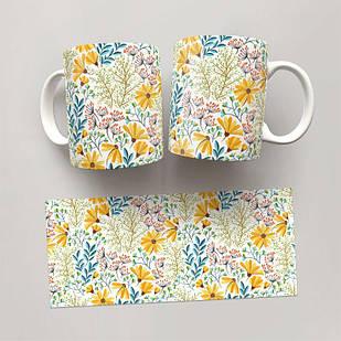 Чашка, Кружка Цветы №68 (растения, цветы, флора, узоры)