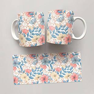 Чашка, Кружка Цветы №67 (растения, цветы, флора, узоры)