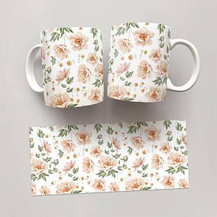 Чашка, Кружка Цветы №64 (растения, цветы, флора, узоры)