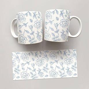Чашка, Кружка Цветы №62 (растения, цветы, флора, узоры)