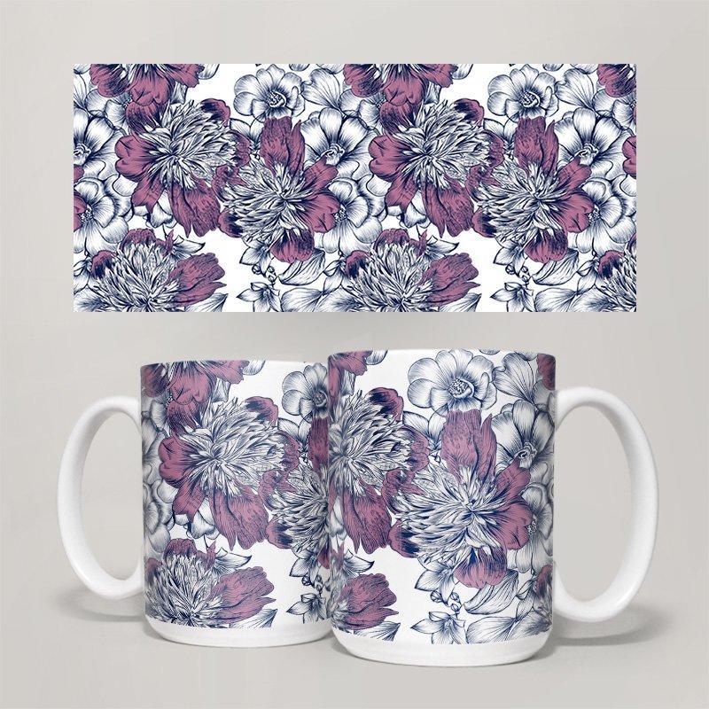 Чашка, Кружка Цветы №23 (растения, цветы, флора, узоры)