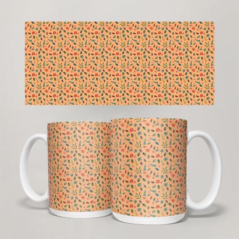 Чашка, Кружка Цветы №13 (растения, цветы, флора, узоры)