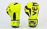 Перчатки боксерские FLEX на липучке VNM ELITE NEO BO-5338-G (р-р 10-14oz, салатовый)
