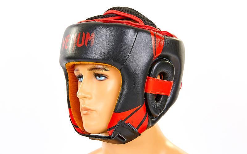 Шлем боксерский открытый с усиленной защитой макушки кожаный VNM BO-6629-R