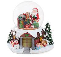 Декоративный водяной шар Камин 25см с музыкой, вращающимися подарками, летящим снегом и LED-подсветкой