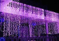 Уличная светодиодная гирлянда водопад 3х3м, 680 led, штора, занавес, цвет фиолетовый, есть соединение