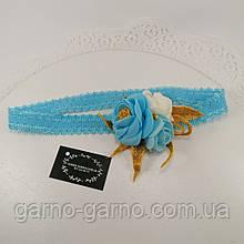 Пов'язка блакитна Прикраса для волосся, пов'язка з квітами