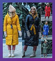 Женское зимнее теплое двустороннее пальто на синтепоне электрик зеленое красное горчица с м л ххл 4хл 6хл