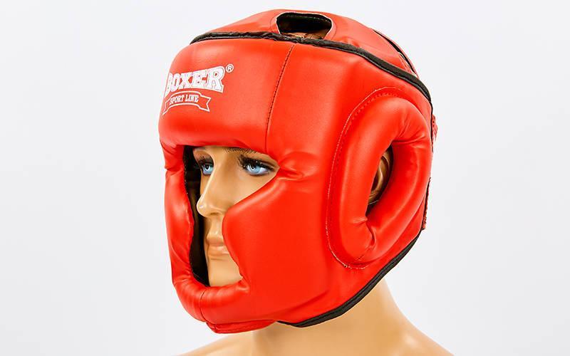 Шлем боксерский с полной защитой Кожвинил BOXER 2036-K (р-р М-XL, красный)