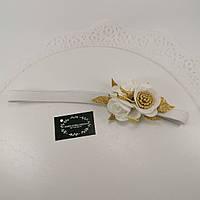 Повязка белая Украшение для волос повязка с цветами
