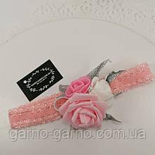 Пов'язка рожева Прикраса для волосся, пов'язка з квітами