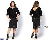 Трикотажное черное платье декорировано стрейчевой кожей, размеры 46.48,50.52,54,56.58,60
