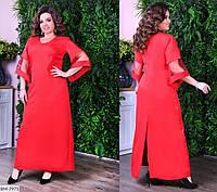 Стильное женское однотонное платье, сзади разрез, большого размера от 50 до 60