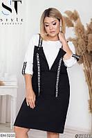 Трендовое молодежное платье-обманка больших размеров, размеры: 50-52, 54-56, 58-60, 62-64