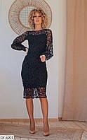 """Женское нарядное платье из сетки """"Флок"""" больших размеров"""