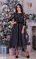 Нарядное серое платье из люрекса больших размеров