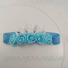 Пов'язка блакитна з короною Прикраса для волосся, пов'язка з квітами і коронкою