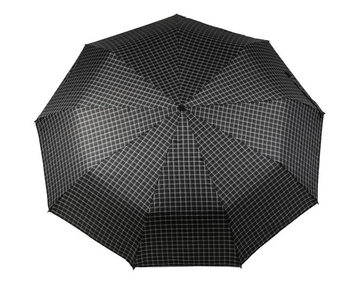 Зонт складной, автомат, 9 спиц, черный в клетку