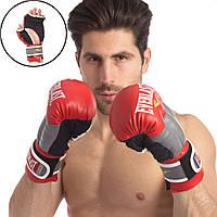 Перчатки гибридные для единоборств ММА кожаные ELAST LD-P0000663-R (р-р 10-12oz, красный-серый) 0271-R