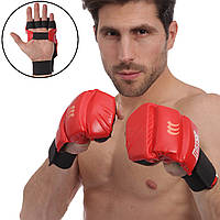 Перчатки для Джиу Джитсу кожаные MATSA MA-1804-R (р-р S-XL, манжет на резинке, красный)