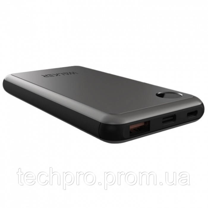 УМБ Power Bank Walker WB-510 10000mAh Metal +LCD Li-Pol 1xUSB 1xUSB Type-C 2.1A Black