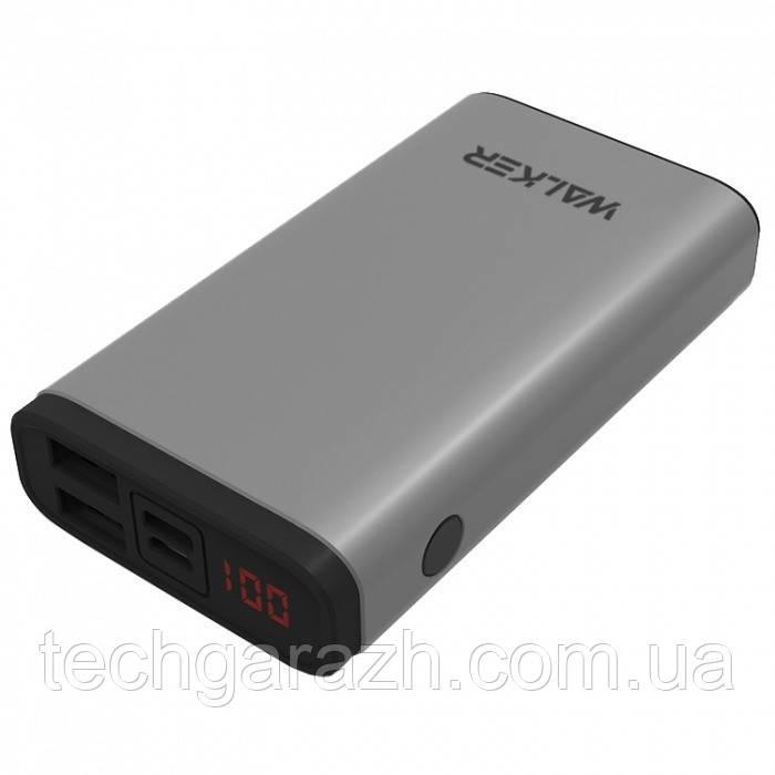 УМБ Power Bank Walker WB-710QC 10000mAh Metal +LCD Quick Charge 3.0 Li-Pol 2xUSB 1xUSB Type-C 3A Grey