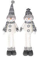"""Мягкая новогодняя фигура-игрушка  """"Снеговик"""" цвет белый с серым, рождественский декор, 2 вида, 58см"""