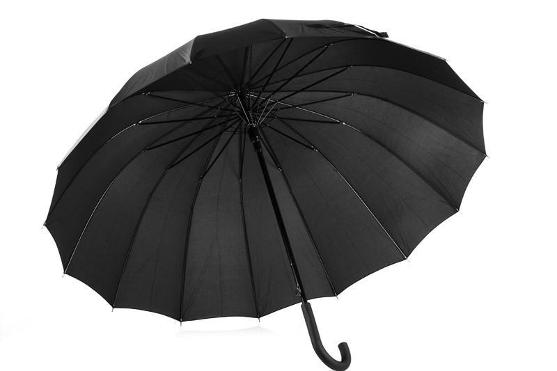 Зонт-трость, полуавтомат, 16 спиц, черный