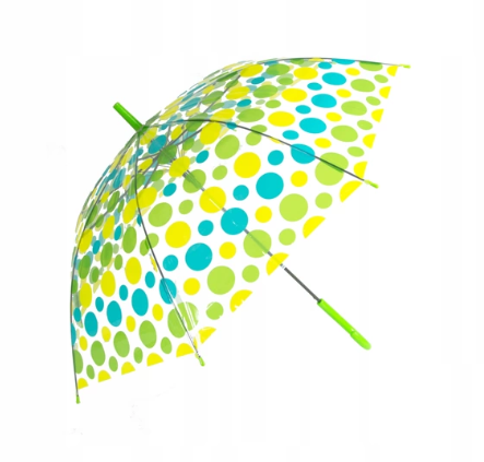 Зонт-трость прозрачный, полуавтомат, 8 спиц, салатовый/голубой