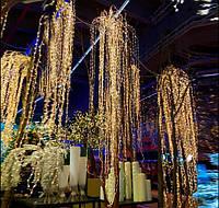 Гирлянда Конский Хвост (Дреды) 500 LED Тепло-Белая, для помещений и для улицы: пучок 25 линий по 2,м, статика