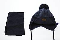 Шапка вязка на трикотаже+шарф с подворотом, фото 1