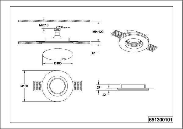 Точечный светильник Trio Tatra 651300101, фото 2