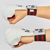 Перчатки для каратэ DADO BO-5076-W (PU, р-р S-L,  манжет на резинке, белый-красный)